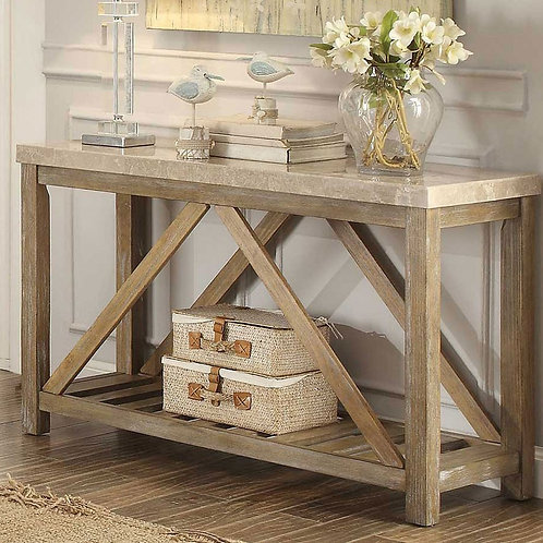 Ridley Collection Sofa Table w/ Marble Top by Homelegance