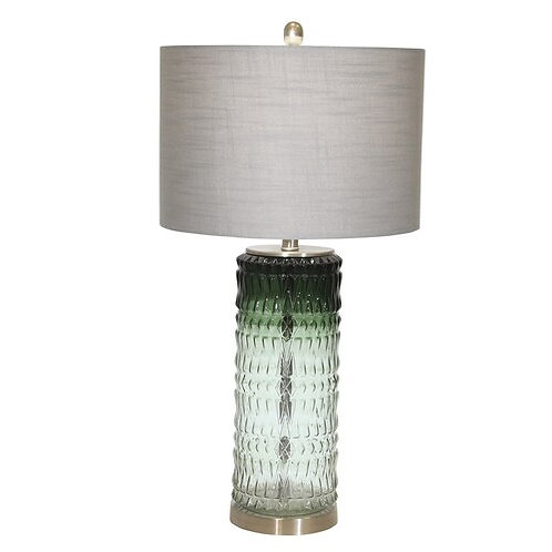 """GLASS 31"""" TEXTURED TABLE LAMP,GREEN"""