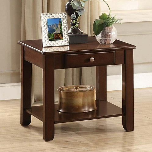 Ballwin Collection End Table with Functional Drawer by Homelegance