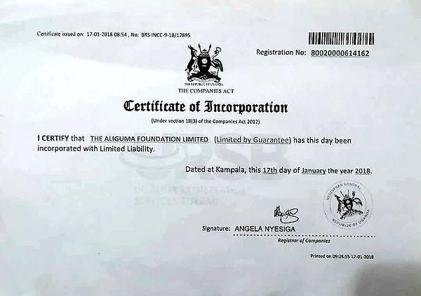 AF Certificate of incorporation