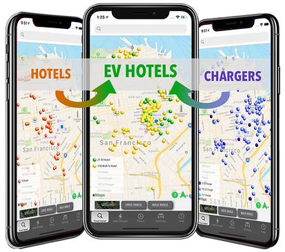 EVHotels App save time when panning an EV route by combining publicchrgers and private hotel chargers on one map