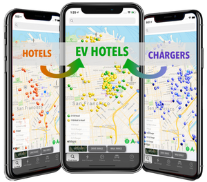 The EVHotels App is the single source to plan your EV Road Trip to find Hotels that have EV Charging