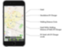 The EVHotels App uniquely finds hotels that are near EV charging stations within a distance of your choice