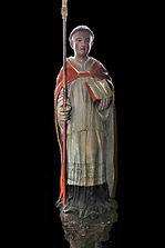 Eglise du Pré d'Auge : statue de Saint Méen, Bois polychrome du XVIIe siècle / Photo M. Tribehou