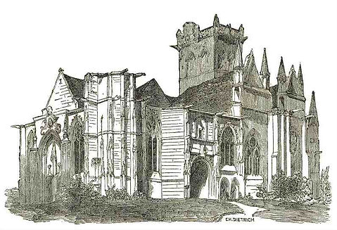 """Eglise de Dives-sur-Mer in """"Statistique Monumentale du Calvados"""" - Arcisse de Caumont"""