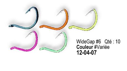 Hameçons widegap #6 couleurs variées quantité 10