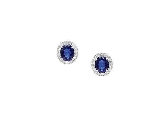 18KW Sapphire Diamond Earrings