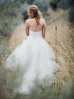 bride in tall grass