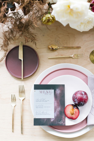 purple and gold wedding tablescape