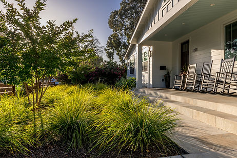 Rocking chairs on the modern front porch overlook a lomandra meadow.