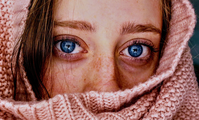 Canva - Woman With Blue Eyes Wrapped in