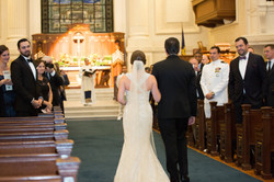 USNA bride escorted by father