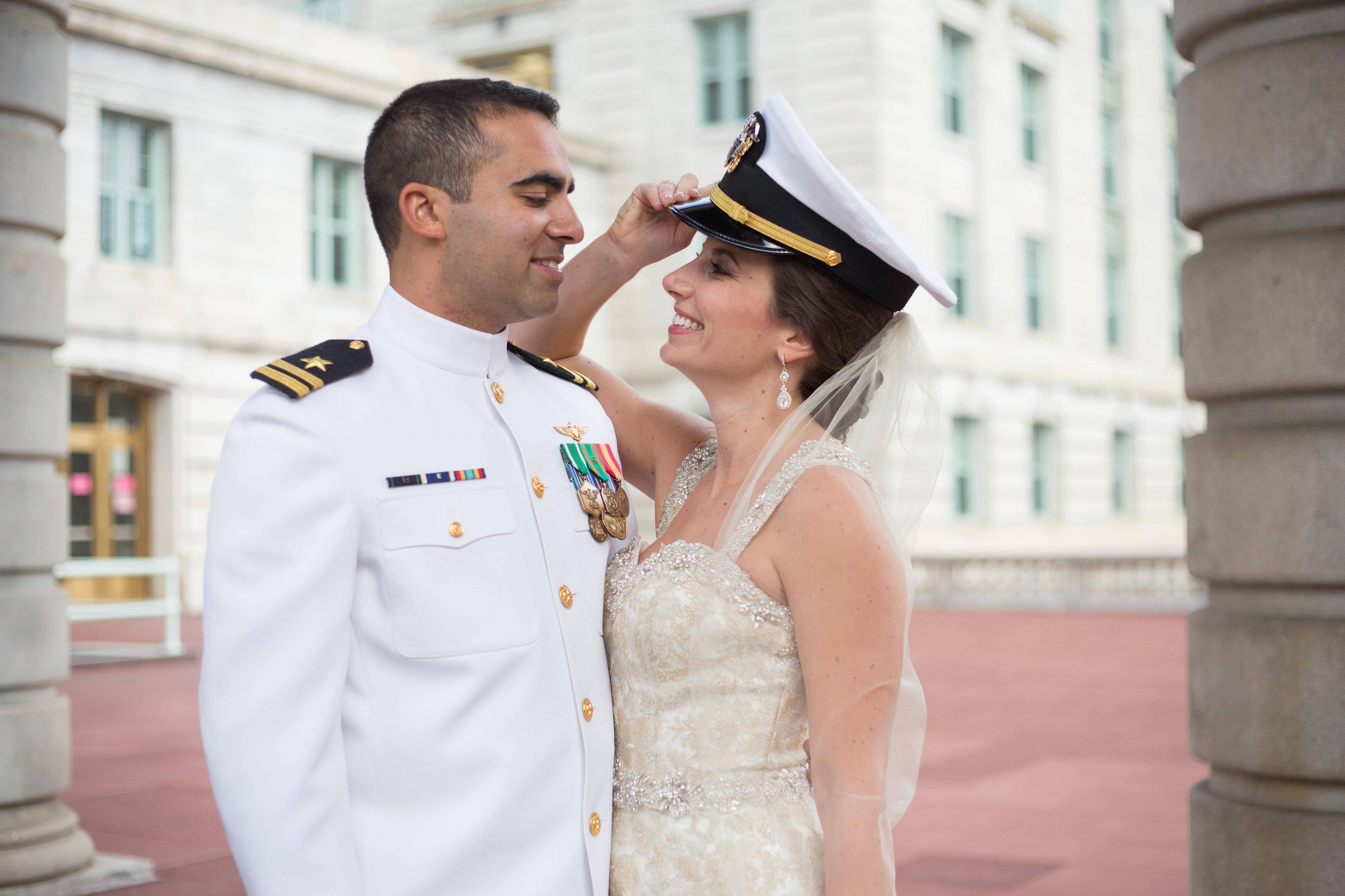 USNA bride with uniform cover