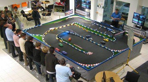 Conference racing attraction hire, birds eye view of system