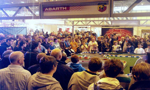 Scalextric Interactive Exhibition Stand Crowd and spectators watching