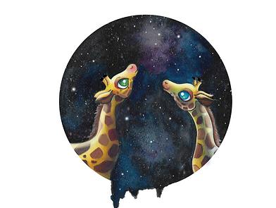 illustration enfant girafes