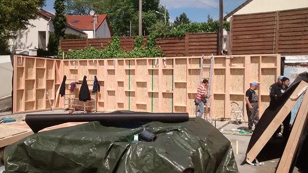 cextension ossature bois,isolation extérieure,bardage bois,baie vitrée