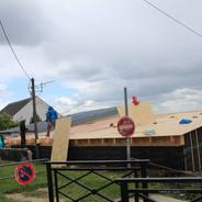 extension ossature bois,isolation extérieure,bardage bois,baie vitrée G