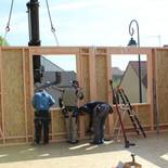 extension ossature bois,isolation extérieure,bardage bois,baie vitrée