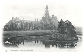 A vew of Barnes Hospital from the pond.p