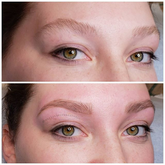 Before and after brow wax with a pencil