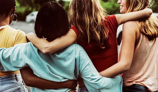 rear-view-group-diverse-woman-friends-wa