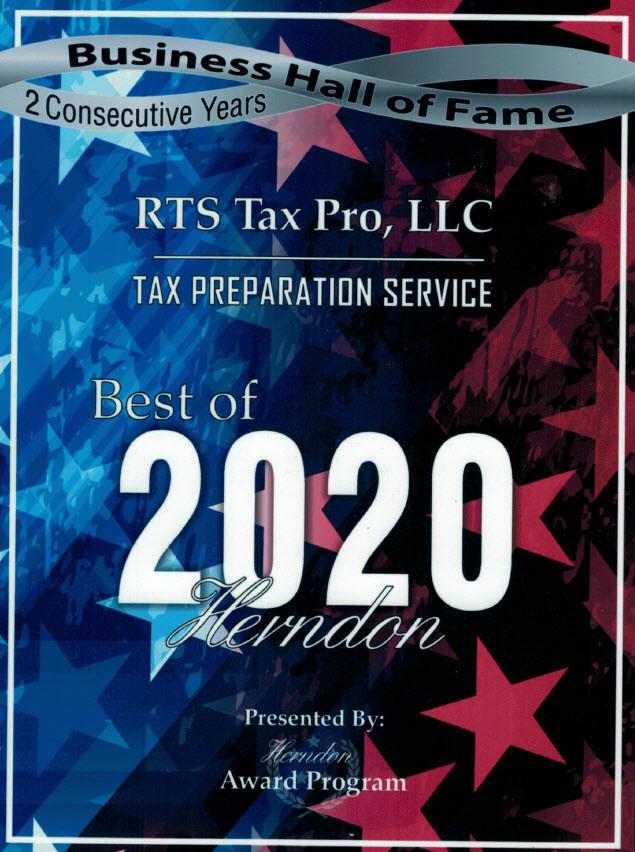 "RTS Tax Pro, LLC received ""Tax Preparation Service Best of 2020"" from Herndon Award Program.."