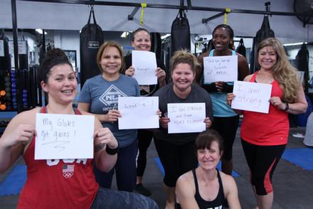 Martha's team celebrate's their non-scale victories