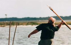 Dad aims harpoon