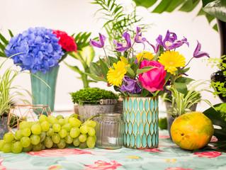Una mesa muy tropical