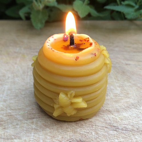 Skep Shaped Beeswax Candle with Propolis