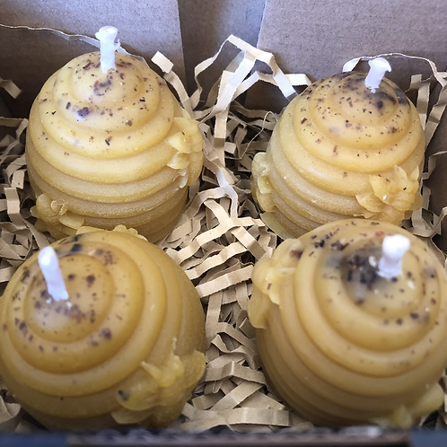 4 x Small Skep Beeswax Candles