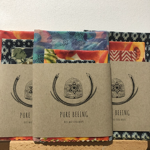 Assorted fabric beeswax food wraps pack of 3