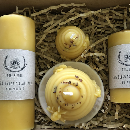 Beeswax candles with propolis pack of 4 sizes