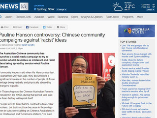 [Media Alert] ABC News - Pauline Hanson controversy: Chinese community campaigns against 'racist