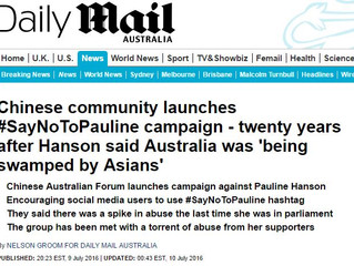 [Media Alert] Daily Mail: Chinese community launches #SayNoToPauline campaign - twenty years after H