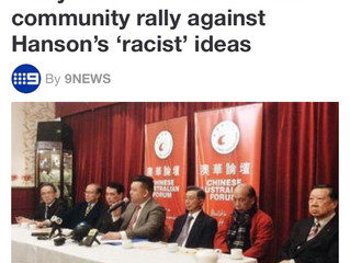 [Media Alert] 9NEWS '#SayNoToPauline': Chinese community rally against Hanson's 'racist' ide