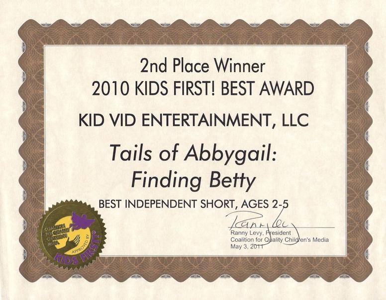 KidsFirst Best of 2010 Award TOA