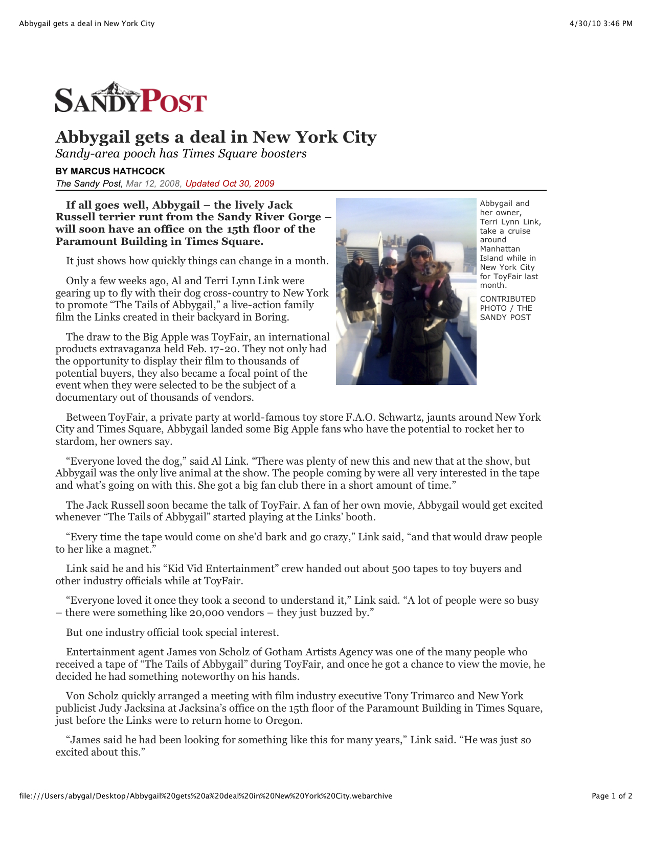 Abby gets a deal in NYC Sandy Post