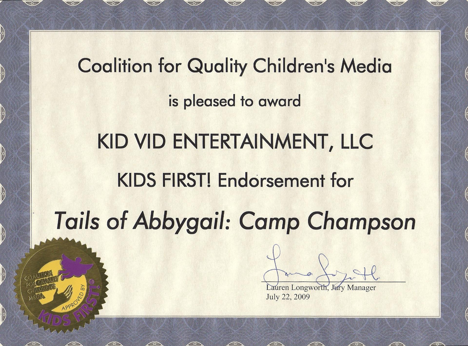Kids First Endorsement 4 TOA