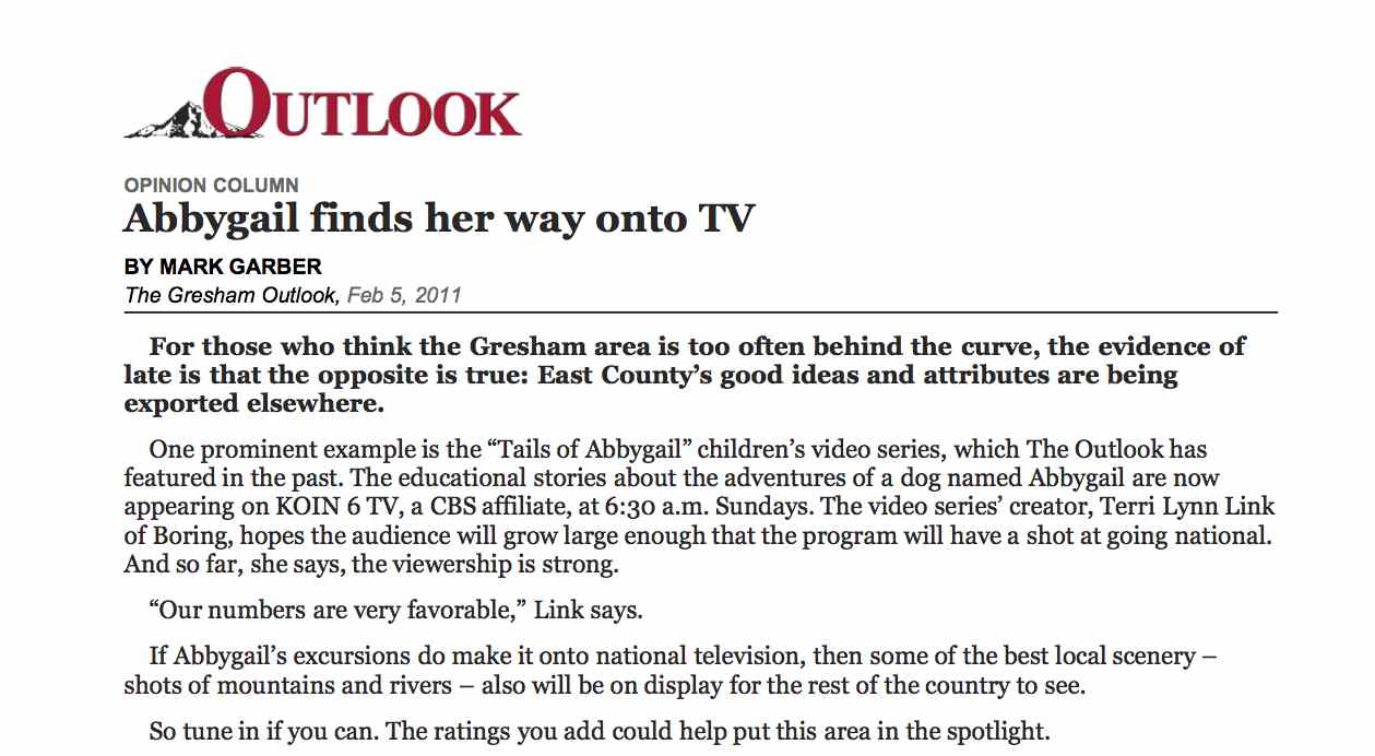 Abbygail finds her way to TV Outlook