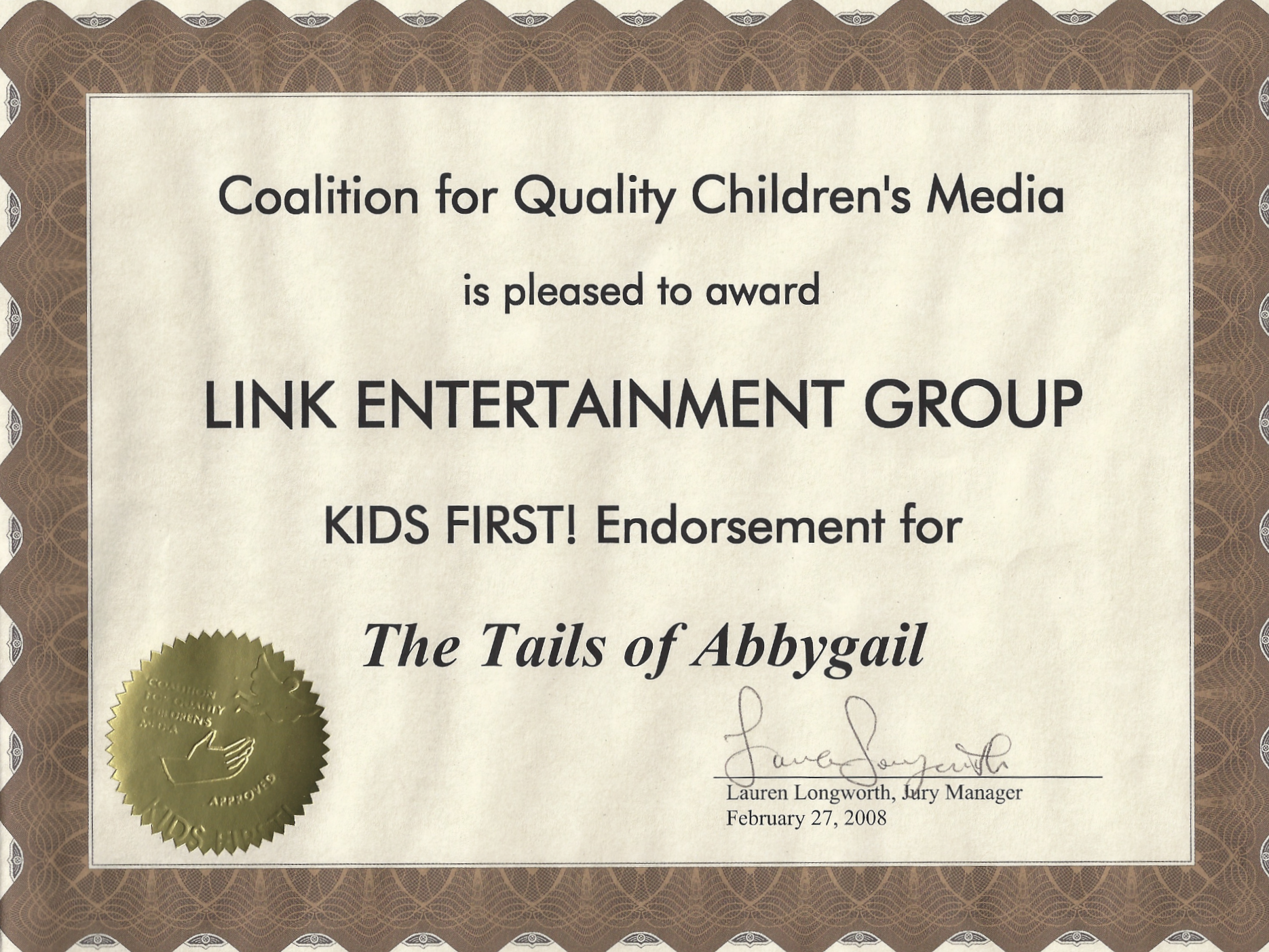 Kids First Endorsement 1TOA