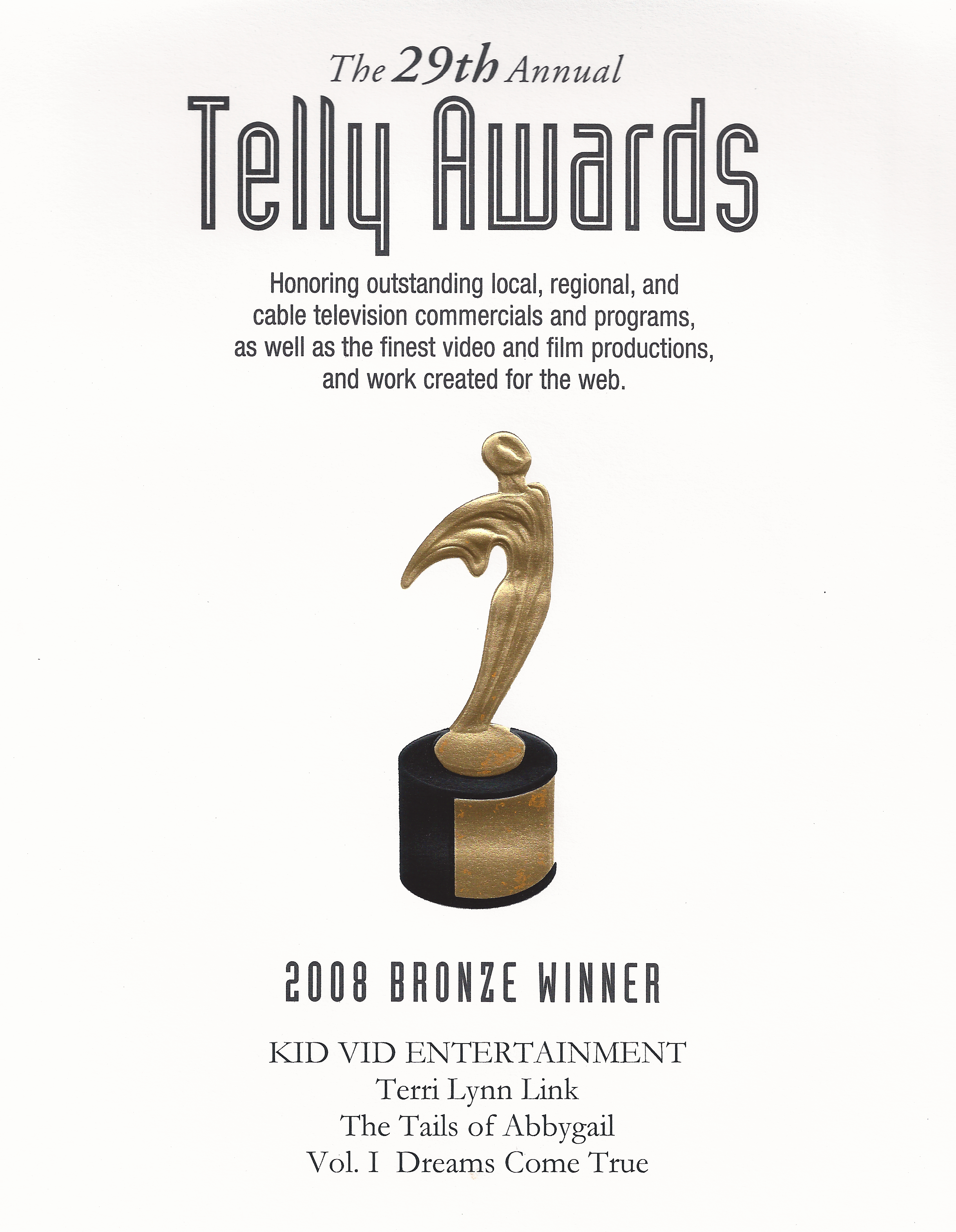 Telly Award The Tails of Abbygail