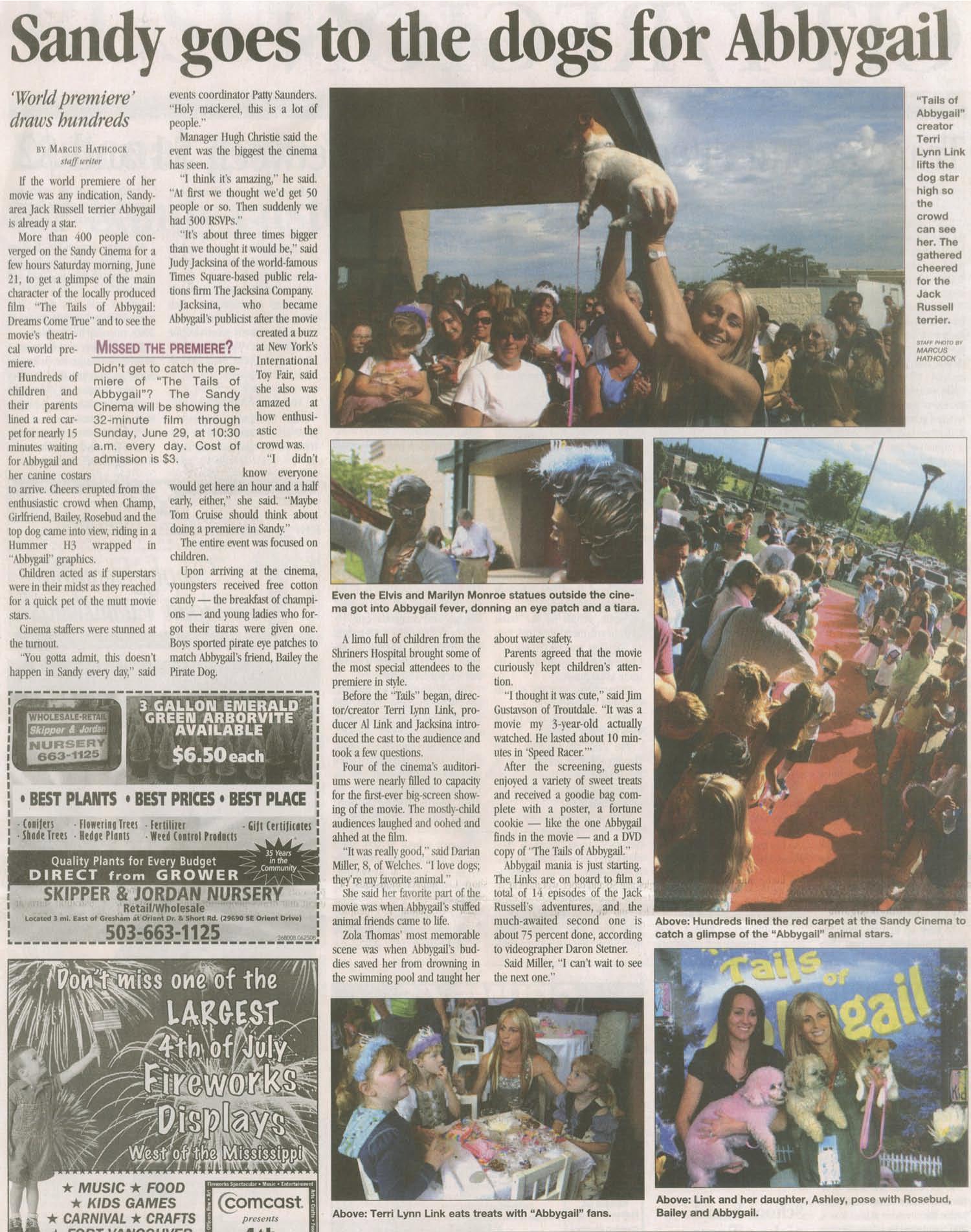 Abbygail Premier Article in Sandy Post