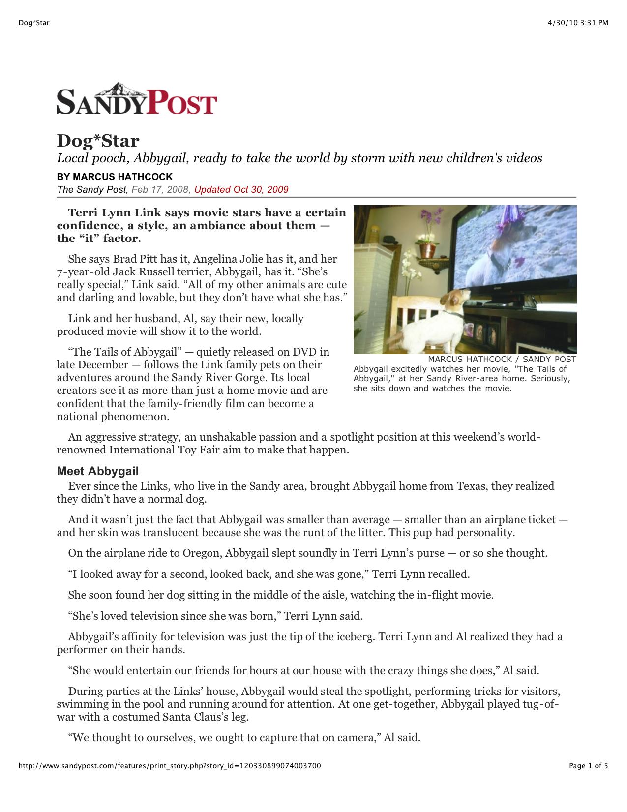 Dog*Star  Sandy Post TOA