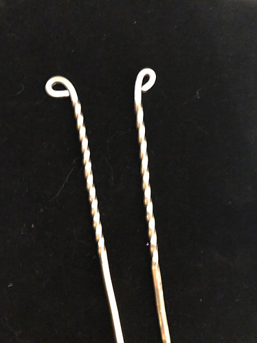 Steling silver twist hair pins pre order