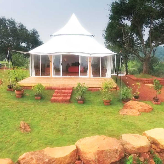 This is tent villa constructed for Swami Govind Giri Maharaj ji for his stay.