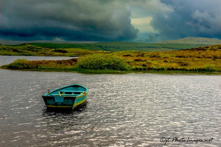 Blue Boat Ardnahoe Loch ISLAY SCOTLAND-Photograph