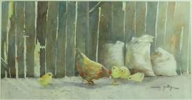 Barn Side Luncheon-Watercolor