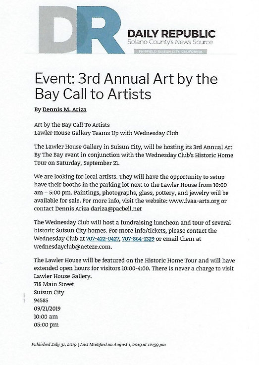 FSVAA Press Release - Art by the Bay - 2
